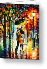 Dance Under The Rain Greeting Card by Leonid Afremov