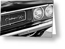 Dodge Challenger Rt Grille Emblem Greeting Card by Jill Reger
