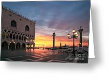 Doges Palace At Sunrise Venice Italy Greeting Card by Matteo Colombo