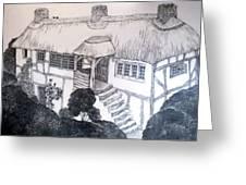 Garden Cottage Greeting Card by Diane Fine