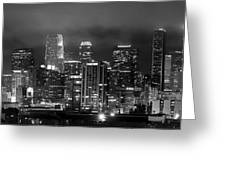 Gotham City - Los Angeles Skyline Downtown At Night Greeting Card by Jon Holiday