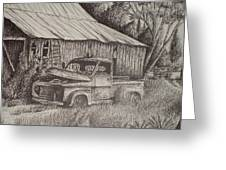 Grandpa's Old Barn With Chevy Truck Greeting Card by Chris Shepherd
