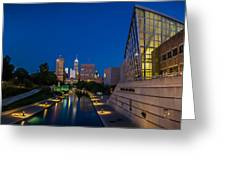Indianapolis Skyline From The Canal At Night Greeting Card by Ron Pate