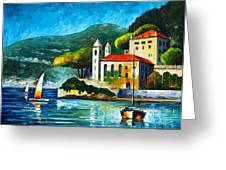 Italy Lake Como Villa Balbianello Greeting Card by Leonid Afremov