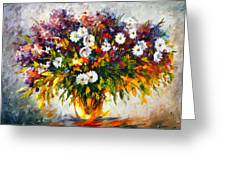 Lilac And Camomiles Greeting Card by Leonid Afremov