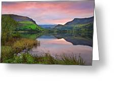 Llyn Nantlle At Sunrise Looking Towards Mist Shrouded Mount Snow Greeting Card by Matthew Gibson