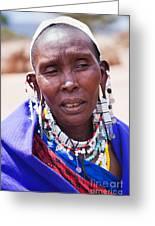 Maasai Woman Portrait In Tanzania Greeting Card by Michal Bednarek