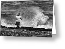Man Versus The Sea Greeting Card by Mike  Dawson