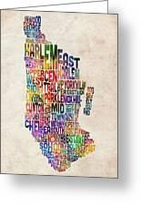 Manhattan New York Typographic Map Greeting Card by Michael Tompsett