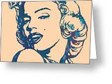 Marilyn Monroe Stylised Pop Art Drawing Sketch Poster Greeting Card by Kim Wang