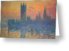 Monet's The Houses Of Parliament At Sunset Greeting Card by Cora Wandel
