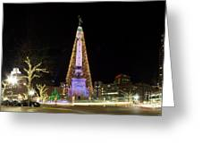 Monument Circle at Christmas Greeting Card by Twenty Two North Photography
