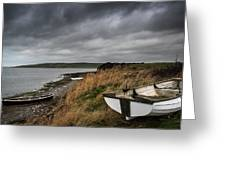 Old Decayed Rowing Boats On Shore Of Lake With Stormy Sky Overhe Greeting Card by Matthew Gibson