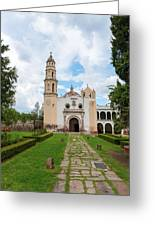 Oxtotipac Church And Monastery Mexico Greeting Card by Marek Poplawski