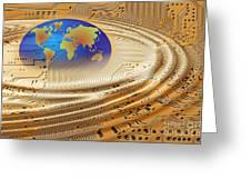 printed circuit Greeting Card by Michal Boubin