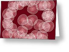 Red Abstract Circles Greeting Card by Frank Tschakert