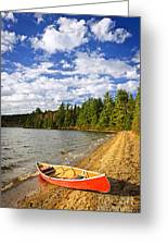 Red Canoe On Lake Shore Greeting Card by Elena Elisseeva