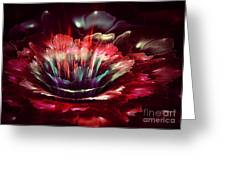 Red Fractal Flower Greeting Card by Martin Capek