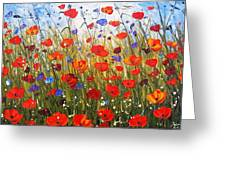 Red Poppifield Greeting Card by Jolina Anthony
