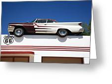 Route 66 - Desoto's Salon Greeting Card by Frank Romeo