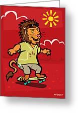 skateboarding Lion  Greeting Card by Martin Davey