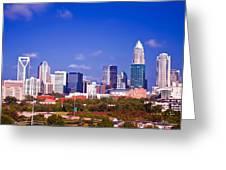 Skyline Of Uptown Charlotte North Carolina At Night Greeting Card by Alexandr Grichenko