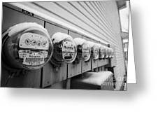 snow covered electricity meters in Saskatoon Saskatchewan Canada Greeting Card by Joe Fox