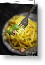 Spaghetti Carbonara Greeting Card by Mythja  Photography