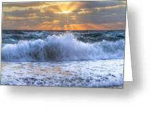 Splash Sunrise Greeting Card by Debra and Dave Vanderlaan