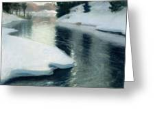 Spring Thaw Greeting Card by Fritz Thaulow