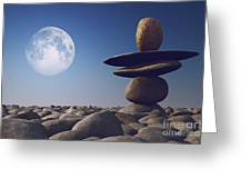 Stacked Stones In Sunlight Witt Moon Greeting Card by Aleksey Tugolukov