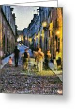 Street Of Knights Greeting Card by George Atsametakis