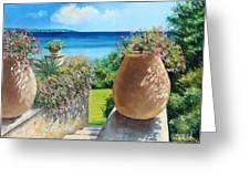 Sunny Terrace Greeting Card by Jean-Marc Janiaczyk