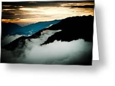 Sunset Himalayas Mountain Nepal Panaramic View Greeting Card by Raimond Klavins