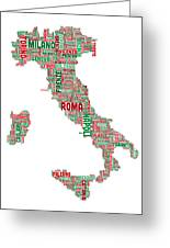 Text Map Of Italy Map Greeting Card by Michael Tompsett