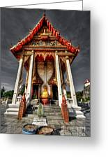 Thai Temple Greeting Card by Adrian Evans