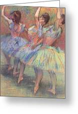 Three Dancers Greeting Card by Edgar Degas