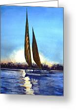 Two Sails At Sunset Greeting Card by Ruth Bodycott