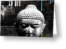 Urban Buddha  Greeting Card by Linda Woods