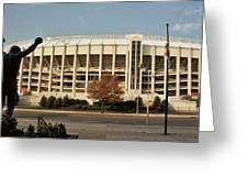Veterans Stadium Greeting Card by Joseph Perno