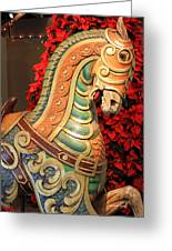Vintage Carousel Horse Greeting Card by Suzanne Gaff