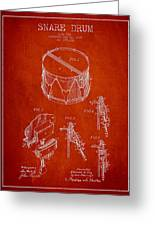 Vintage Snare Drum Patent Drawing From 1889 - Red Greeting Card by Aged Pixel