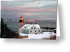 West Quoddy Head Lighthouse Greeting Card by Alana Ranney