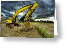 Yellow Excavator Greeting Card by Jaroslaw Grudzinski