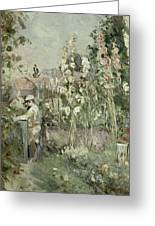 Young Boy In The Hollyhocks Greeting Card by Berthe Morisot
