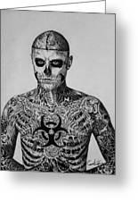 Zombie Boy Rick Genest Greeting Card by Carlos Velasquez Art