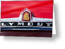 1949 Plymouth P-18 Special Deluxe Convertible Emblem Greeting Card by Jill Reger