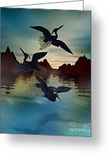 3 Black Herons At Sunset Greeting Card by Bedros Awak