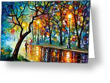 Dark Night Greeting Card by Leonid Afremov