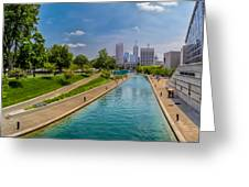 Indianapolis Skyline From The Canal Greeting Card by Ron Pate